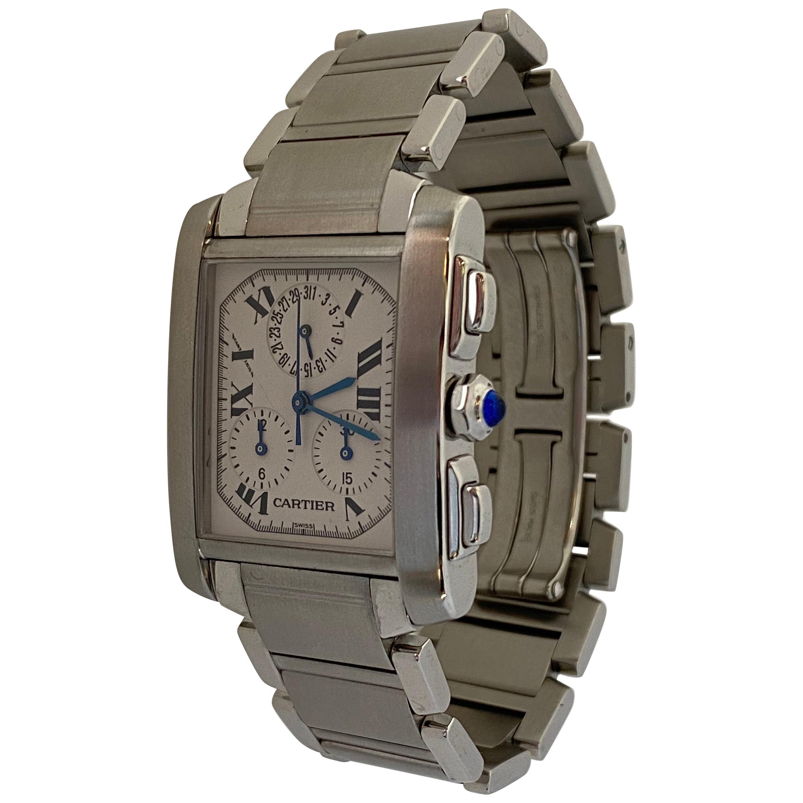 Cartier Tank Francaise Chronoreflex Steel Watch Quartz W51001Q3 2303