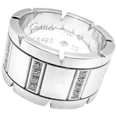 Cartier Tank Francaise Diamond White Gold Band Ring