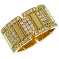 Cartier Tank Francaise Diamond Yellow Gold Large Band Ring. Size is 8 - EU 57