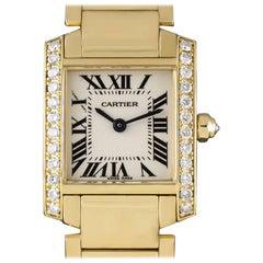 Cartier Tank Francaise Ladies 18 Karat Yellow Gold Silver Dial Diamond Bezel