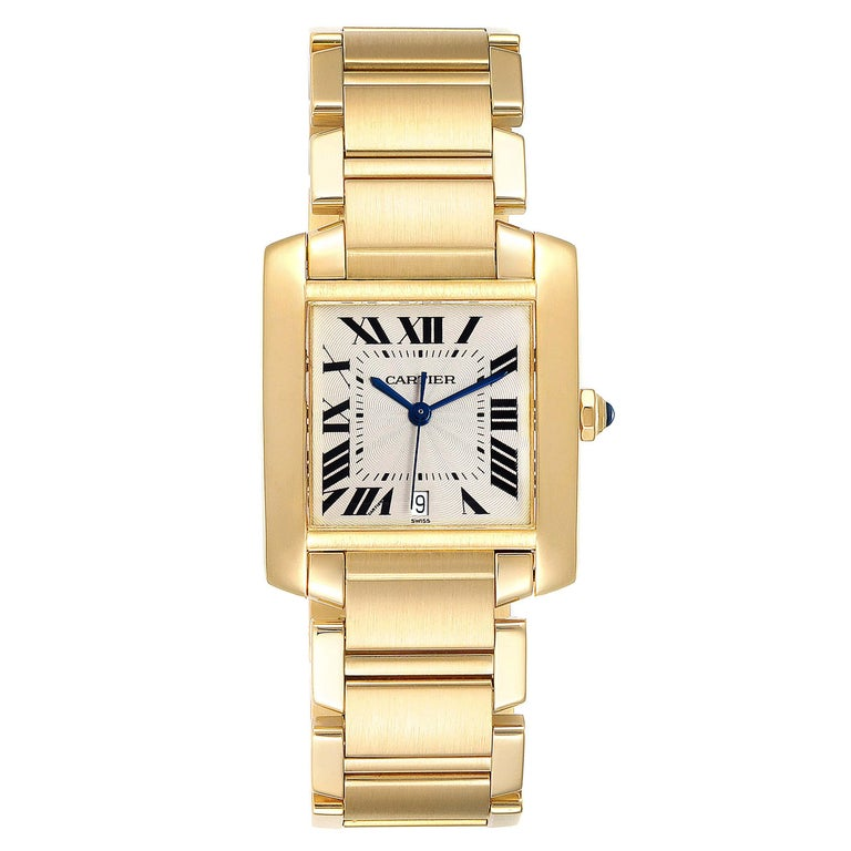 Cartier Tank Francaise Large Yellow Gold Automatic Mens Watch W50001R2. Automatic self-winding movement. Rectangular 28.0 x 32.0 mm case. Octagonal 18K yellow gold crown set with a blue sapphire cabochon. . Scratch resistant sapphire crystal. Silver