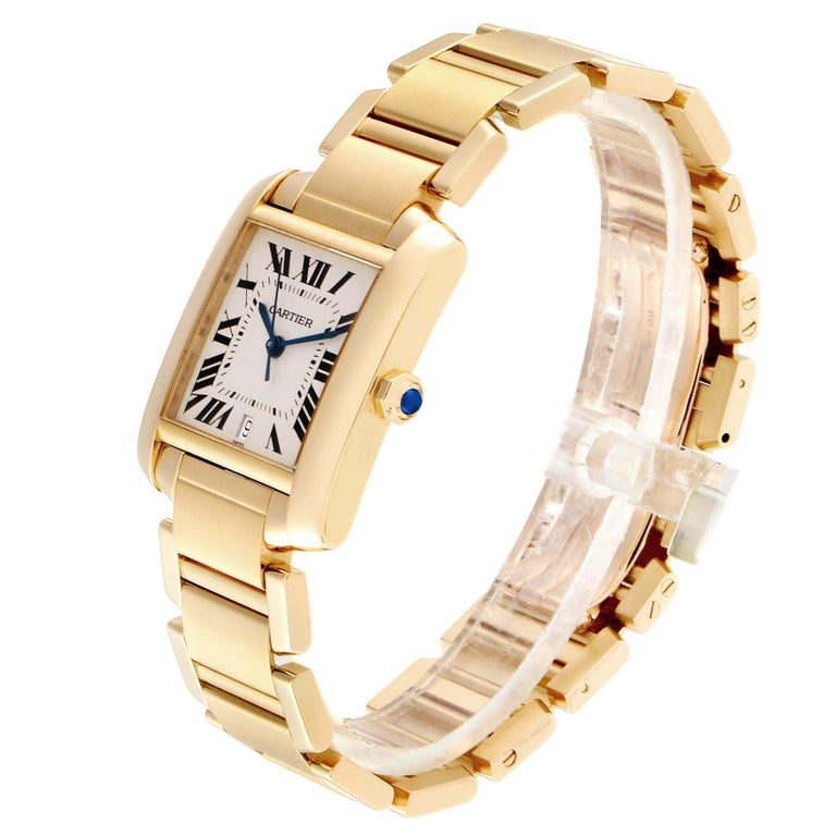 Cartier Tank Francaise Large Yellow Gold Automatic Men's Watch W50001R2 In Excellent Condition For Sale In Atlanta, GA