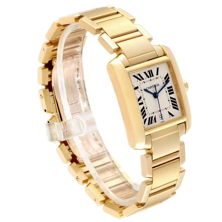 Women's or Men's Cartier Tank Francaise Large Yellow Gold Automatic Men's Watch W50001R2 For Sale
