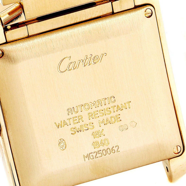 Cartier Tank Francaise Large Yellow Gold Automatic Men's Watch W50001R2 For Sale 2