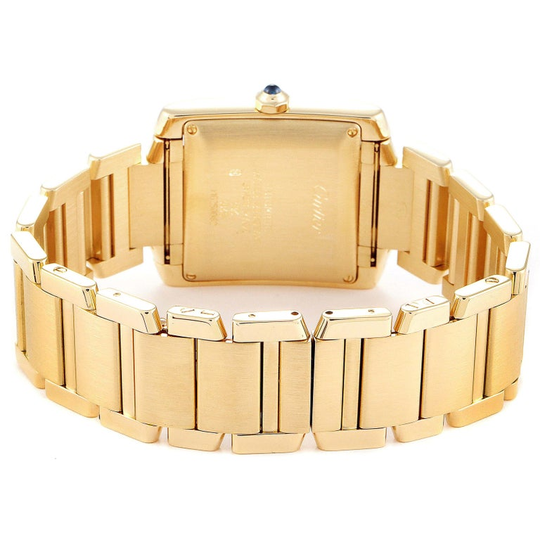 Cartier Tank Francaise Large Yellow Gold Automatic Men's Watch W50001R2 For Sale 3