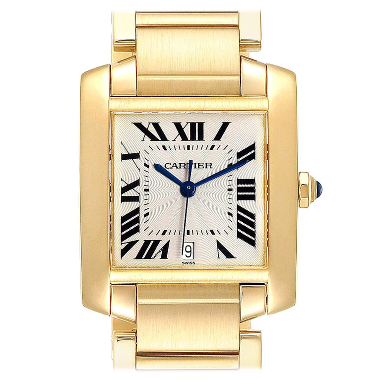 Cartier Tank Francaise Large Yellow Gold Automatic Men's Watch W50001R2 For Sale