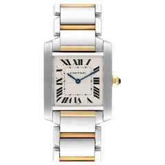 Cartier Tank Francaise Medium Model Steel Yellow Gold Ladies Watch W2TA0003