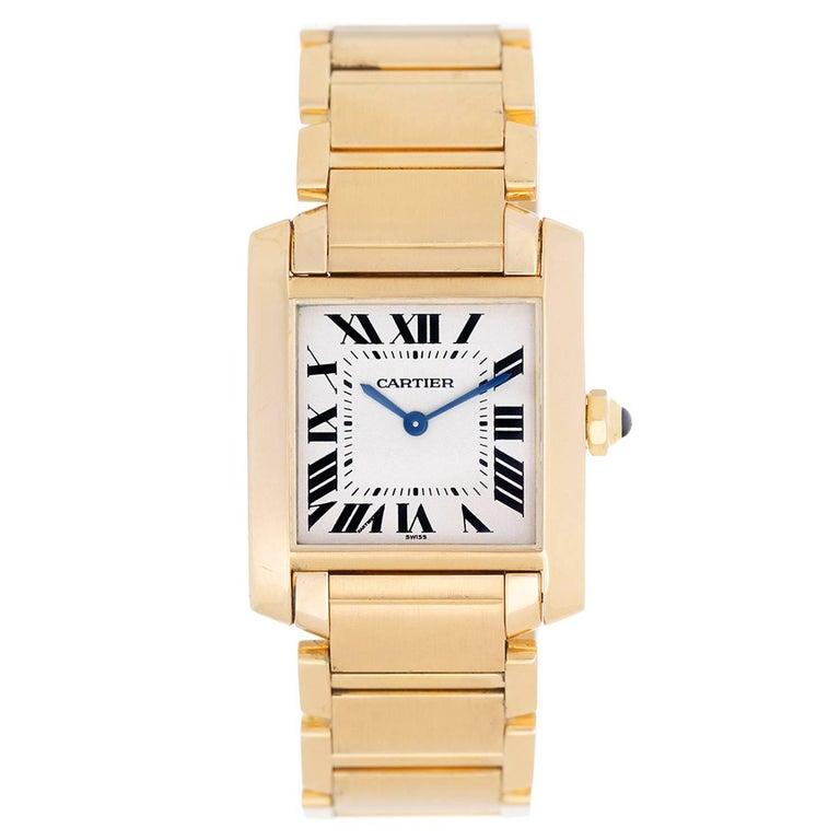 d29eaf648b2 Cartier Yellow Gold Tank Francaise Midsize Quartz Wristwatch Ref W50003N2  For Sale
