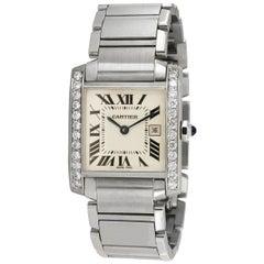 Cartier Tank Francaise Midsize Custom Diamond Bezel 1.1 Carat Watch 2465