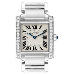 Cartier Tank Francaise Midsize Diamond Steel Ladies Watch W4TA0009 Unworn