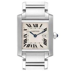 Cartier Tank Francaise Midsize Silver Dial Ladies Watch W51011Q3 Box