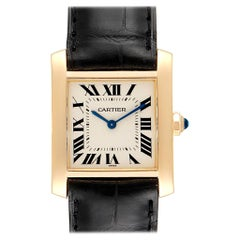 Cartier Tank Francaise Midsize Yellow Gold Black Strap Watch W50003N2