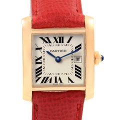 Cartier Tank Francaise Midsize Yellow Gold Red Strap Watch W50014N2