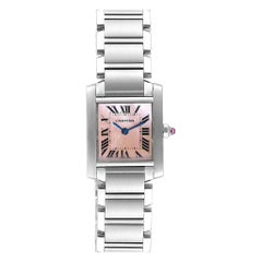 Cartier Tank Francaise Pink Mother of Pearl Steel Ladies Watch W51028Q3