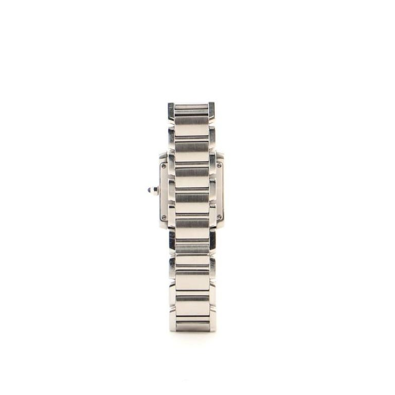 Cartier Tank Francaise Quartz Watch Watch Stainless Steel 20 In Good Condition In New York, NY