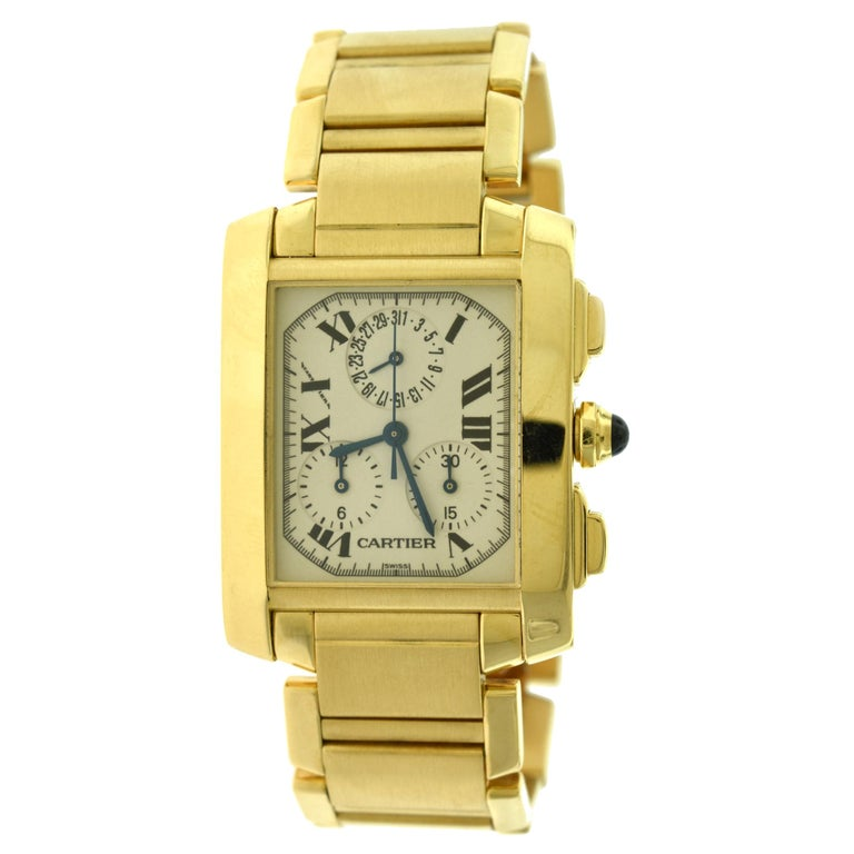 Cartier Tank Francaise Ref. 1830 Chronograph White Dial 18 Karat Gold Watch For Sale