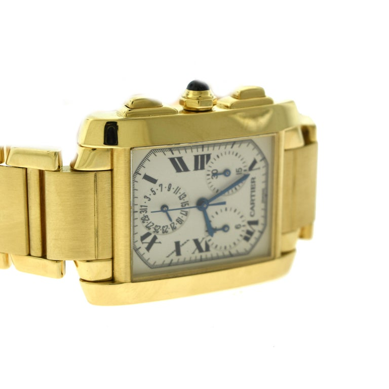 Brilliance Jewels, Miami Questions? Call Us Anytime! 786,482,8100  Brand: Cartier  Collection: Tank Francaise Chronograph  Model Number.: 1830  Model No.: W50005R2  Movement: Quartz  Case Material: 18k Yellow Gold  Case Size: 36 mm  Dial: Silvered