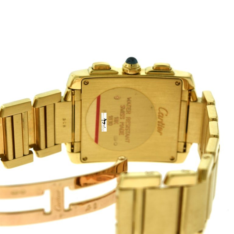 Cartier Tank Francaise Ref. 1830 Chronograph White Dial 18 Karat Gold Watch In Good Condition For Sale In Miami, FL