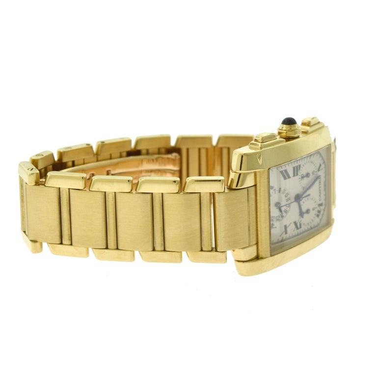 Women's or Men's Cartier Tank Francaise Ref. 1830 Chronograph White Dial 18 Karat Gold Watch For Sale
