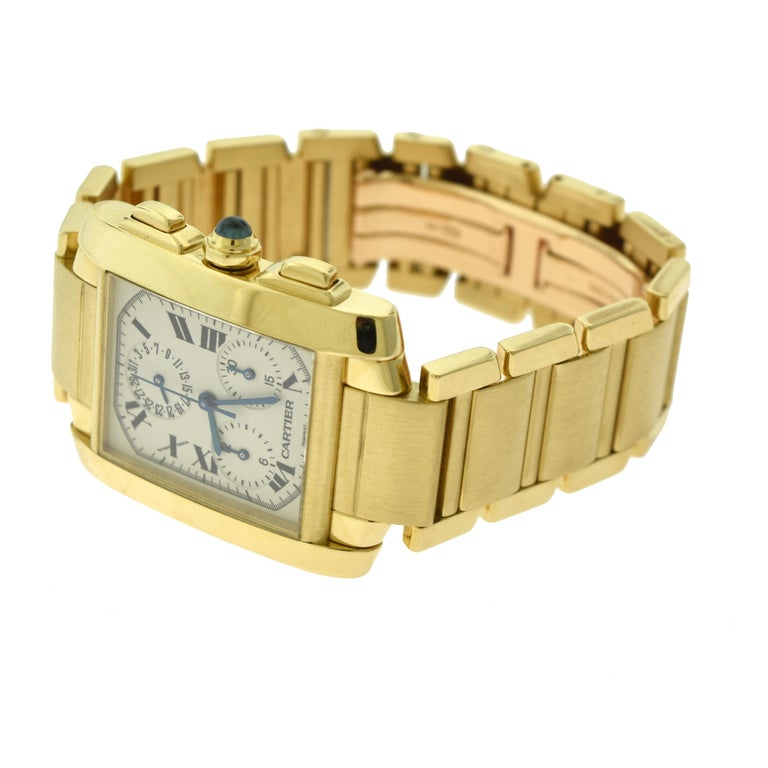 Cartier Tank Francaise Ref. 1830 Chronograph White Dial 18 Karat Gold Watch For Sale 1