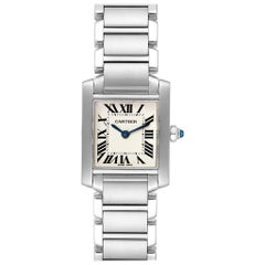 Cartier Tank Francaise Silver Dial Blue Hands Ladies Watch W51008Q3