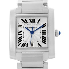 Cartier Tank Francaise Silver Dial Steel Automatic Men's Watch W51002Q3