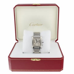 Cartier Tank Francaise Silver Dial Steel Chronoflex W51001Q3 with Cartier Box