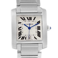 Cartier Tank Francaise Silver Roman Dial Steel Watch Model W51002Q3