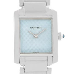 Cartier Tank Francaise Small 18 Karat White Gold Blue Dial Ladies Watch