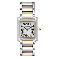 Cartier Tank Francaise Small Two Tone Ladies Watch W51007Q4 Box Papers