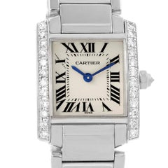 Cartier Tank Francaise Small White Gold Diamond Ladies Watch WE1002S3