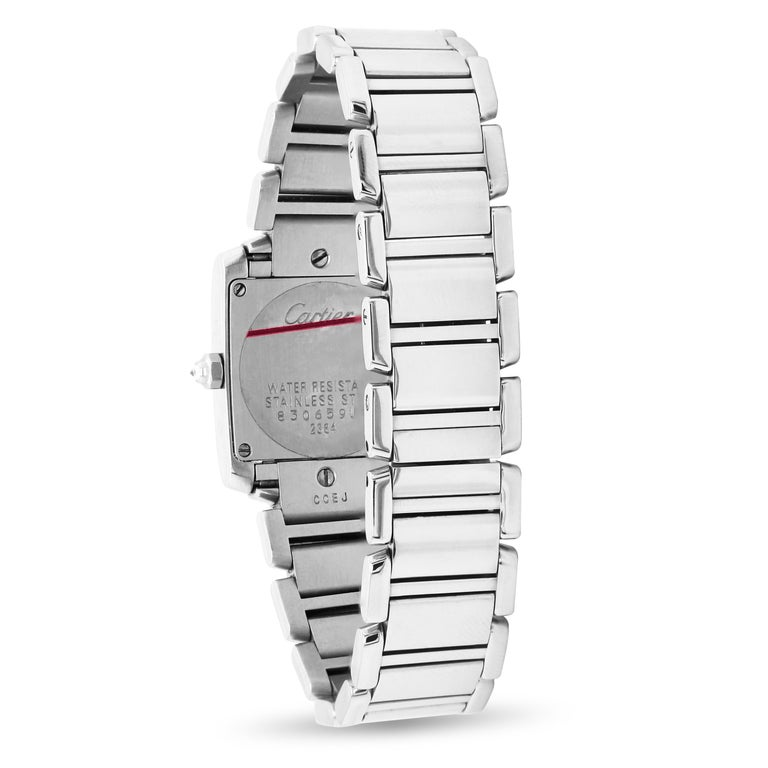 Round Cut Cartier Tank Francaise Stainless Steel White Diamond Bezel Ladies Watch 2384