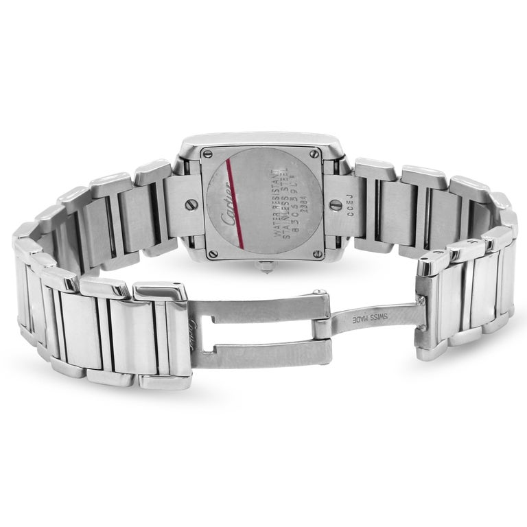 Cartier Tank Francaise Stainless Steel White Diamond Bezel Ladies Watch 2384 1