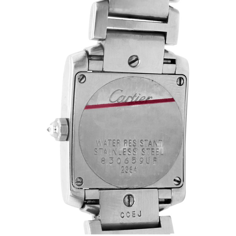 Cartier Tank Francaise Stainless Steel White Diamond Bezel Ladies Watch 2384 2