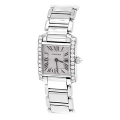 Cartier Tank Francaise Stainless Steel White Diamond Bezel Ladies Watch 2384