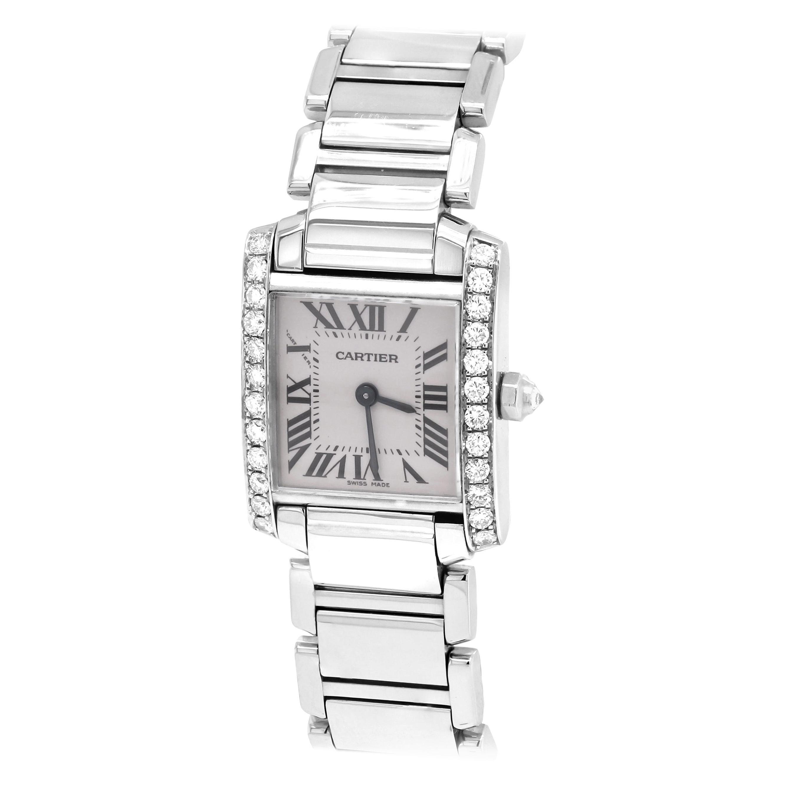 Cartier Tank Francaise Stainless Steel White Diamond Bezel Ladies Watch 2384