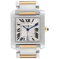 Cartier Tank Francaise Steel 18 Karat Yellow Gold Men's Watch W51005Q4