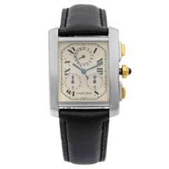 Cartier Tank Francaise Steel 18K Gold Perpetual Silver Dial Men's Watch W51004Q4