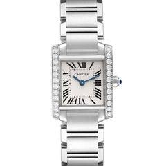 Cartier Tank Francaise Steel Diamond Ladies Watch W4TA0008 Box Card