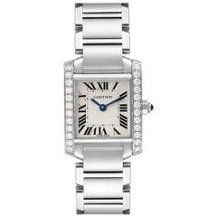 Cartier Tank Francaise Steel Diamond Ladies Watch W4TA0008 Box Papers
