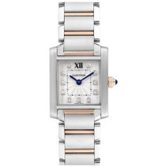 Cartier Tank Francaise Steel Rose Gold Diamond Ladies Watch WE110004