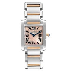 Cartier Tank Francaise Steel Rose Gold MOP Ladies Watch W51027Q4 Box Papers