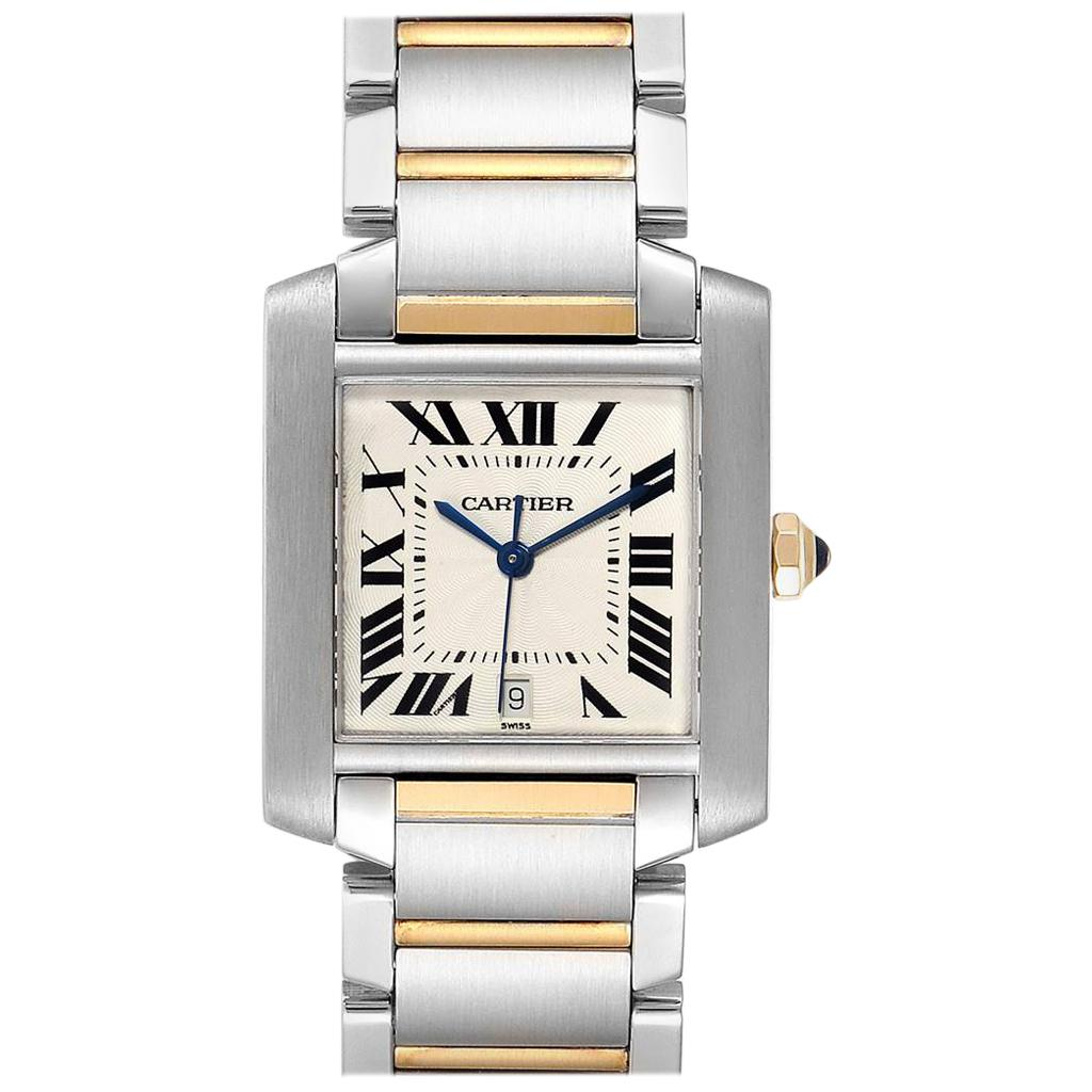 Cartier Tank Francaise Steel Yellow Gold Automatic Men's Watch W51005Q4