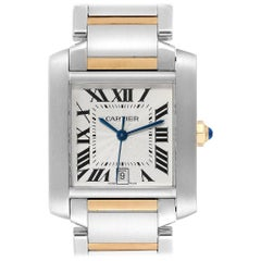 Cartier Tank Francaise Steel Yellow Gold Men's Watch W51005Q4 Box
