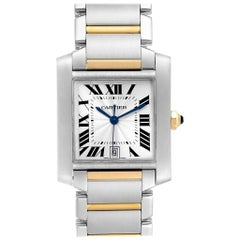 Cartier Tank Francaise Steel Yellow Gold Silver Dial Men's Watch W51005Q4