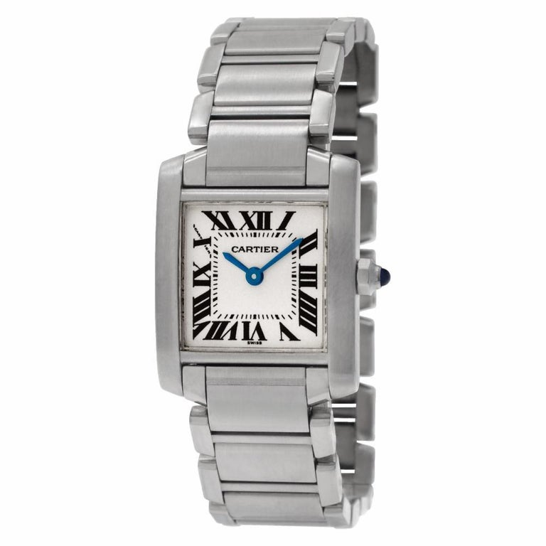 Cartier Tank Francaise W51008Q3, Gold Dial, Certified In Excellent Condition For Sale In Miami, FL
