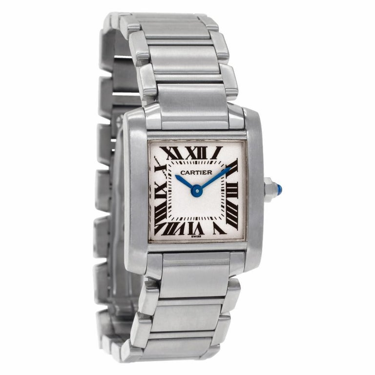 Women's Cartier Tank Francaise W51008Q3, Gold Dial, Certified For Sale