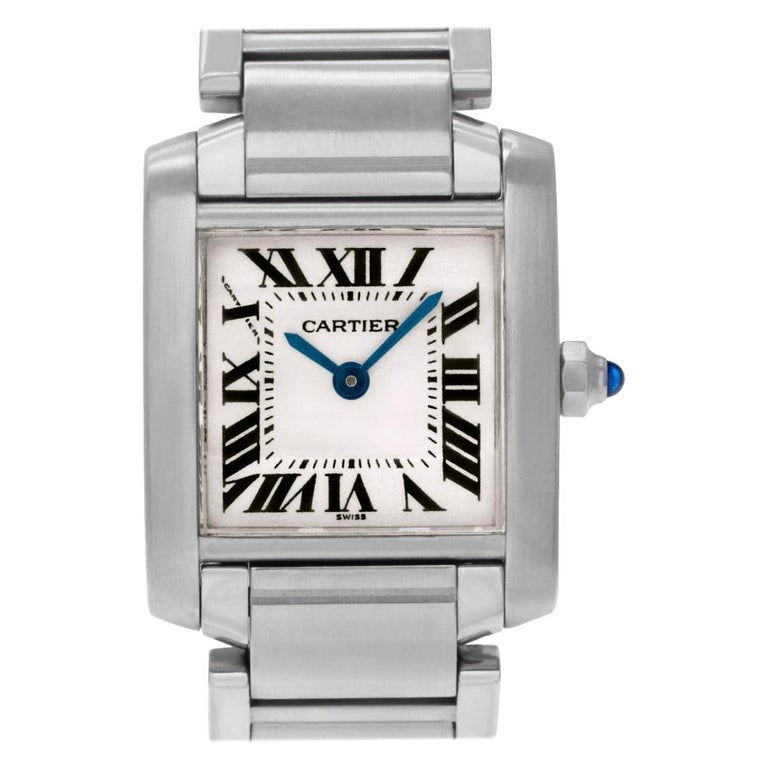 Cartier Tank Francaise W51008Q3, Gold Dial, Certified For Sale