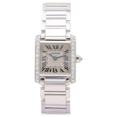 Cartier 'Tank Française' White Gold and Diamond Ladies Watch