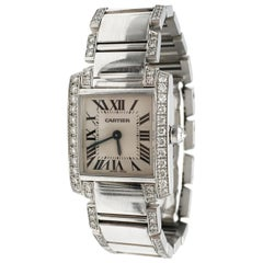 Cartier 'Tank Francaise' White Gold and Diamond Ladies Watch